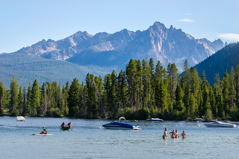 Enjoying a hot summer afternoon in Redfish Lake.