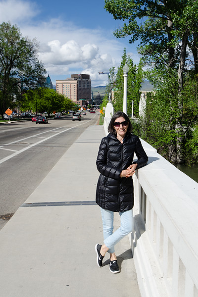 Mali on the Capitol Bridge. South Capitol Boulevard runs north to the Idaho capitol building which is visible in the distance.  Capitol buildings are usually among the first sites we visit but we have yet to visit Idaho's capitol.