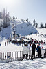 Bogus Basin lift queues. Ski hills are fun factories. You will never find happier lines of people than skiers awaiting lift.