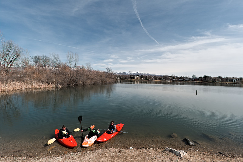 Urban kayakers taking advantage of a nice mid-March Sunday afternoon.