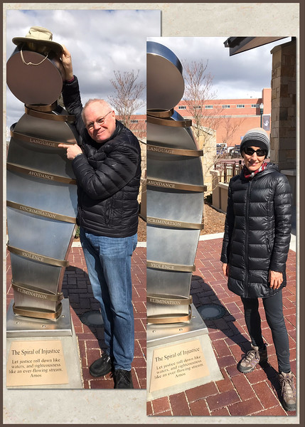 "Me and Mali taking turns beside the ""Othering"" sculpture on the ground of the Boise Anne Frank memorial. When I first encountered the Boise Anne Frank memorial I asked myself why is this in Idaho? It's here because a few decades ago a small neo-nazi group in northern Idaho upset many locals with their batshit crazy view of things. Instead of ignoring the morons, a tactic I heartily endorse and use every day, the usual suspects decided ""Idaho was too Great for Hate"", it's a slogan look it up and managed to have an Anne Frank Memorial built in Boise. Such memorials would be better erected in Holland and Germany where the events took place. A tablet near the ""Othering"" sculpture defines an ""other"" as ""someone that is fundamentally different."" Hell, by that definition I'm an other and so are you."