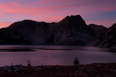 Deep silent dusk. I had the entire Sawtooth Lake valley to myself.