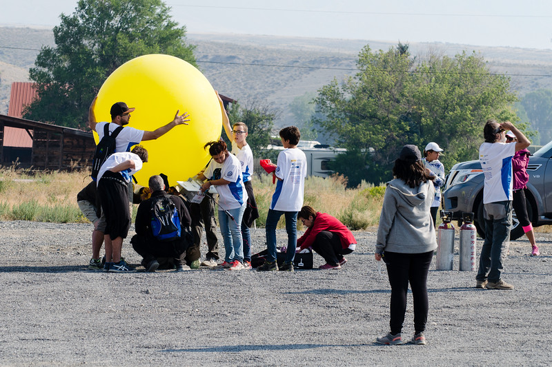 One of the Spanish balloons. The science students from Spain released a few balloons during the eclipse. Here they are getting one ready. I have to give them credit. Eclipse outings to the other side of the world are pretty cool school trips.