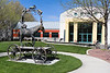 The Boise Art Museum courtyard that contains the horse of questionable qualities.