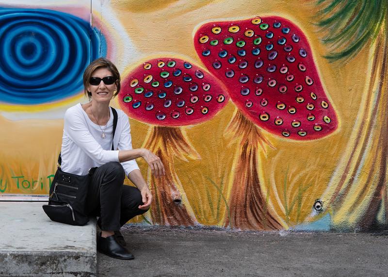Mali posing in Freak Alley.