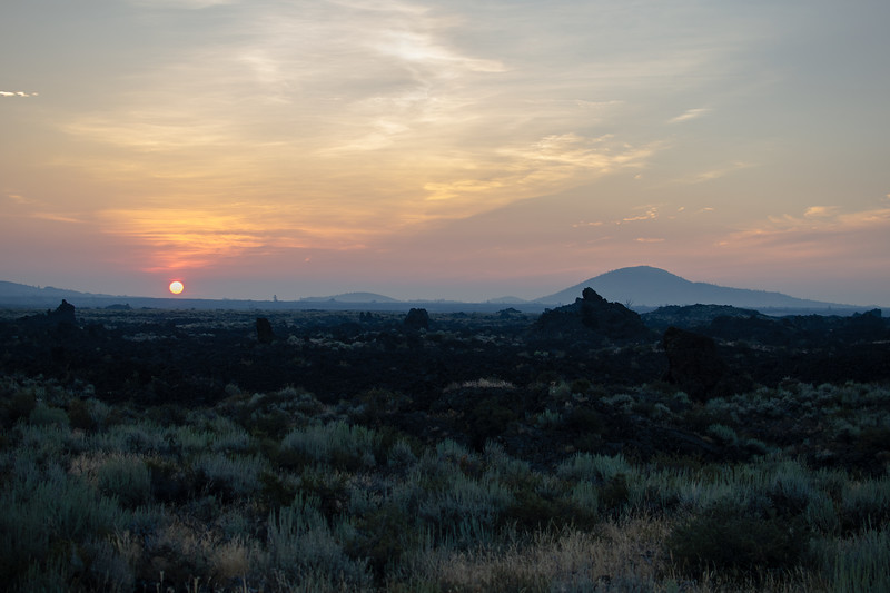 We left Meridian at 4:00 am and headed east to Mackay Idaho to see the eclipse. On the way we caught the Sun rising over the Craters of the Moon.  It was a good start to eclipse day.