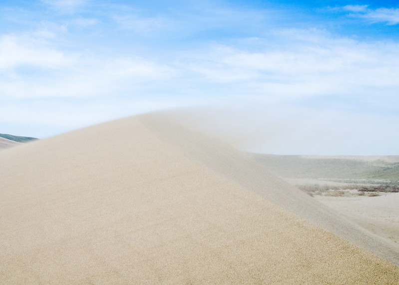 Wind blowing sand off the crest of a Bruneau dune.  Despite the strong winds the sand was not being lifted very high off the ascending slope. I still thought twice about exposing cameras to the airborne grains.