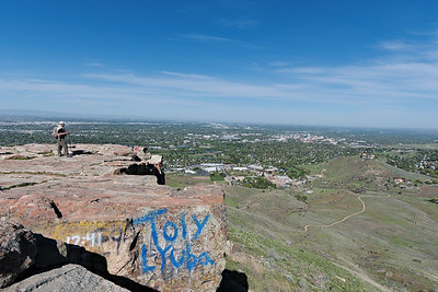 Some intrepid soul tagged Table Rock above Boise.  Graffiti is often artless vandalism but I appreciated its color contrast when composing this wide shot.
