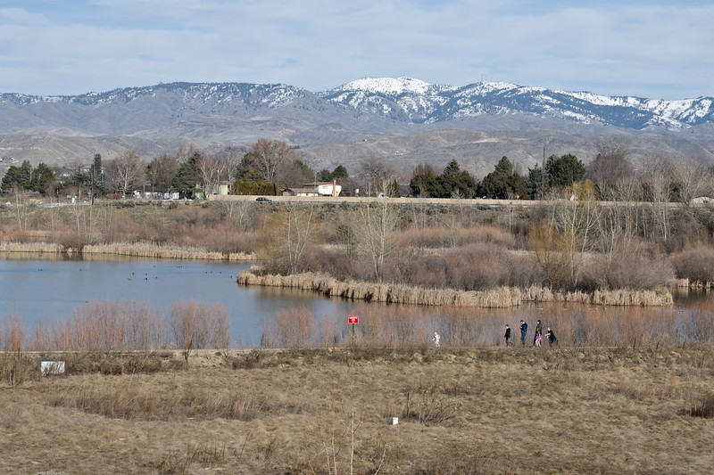 We enjoyed a superb Sunday afternoon in Southern Idaho today. Most mornings I drive past this park on the way to work; so it's been on my checkout list.  I biked over today and rode the park trails. As you can see the snow on the mountains above Boise starts above 1500 meters. We're having a mild El Nino winter.