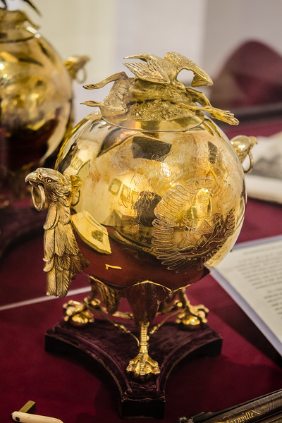 One of the prized exhibits in the Museum of Falconry. This gold plated trophy was awarded the gentlemen that reintroduced falconry to England after it had been banned by Cromwell. The Round Heads did not approve of falconry. They viewed it as a degenerate sport of the idle drunken rich, which to be fair, was a pretty accurate assessment. Hate the player, not the game!