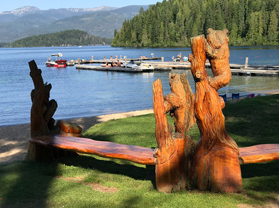 A bear carving on the grounds of Hill's Resort beside Priest Lake. Northern Idaho has a dodgy reputation. It's known for skinheads, opioid addicts, white supremacy and racist LBGTQ hating Trump voters. This is all a front to keep the tourist hordes at bay. The lake district of Northern Idaho is as nice as more famous sites and here's the good bit the naked ape density is much lower!  Still, just to be safe you should stay far far away.