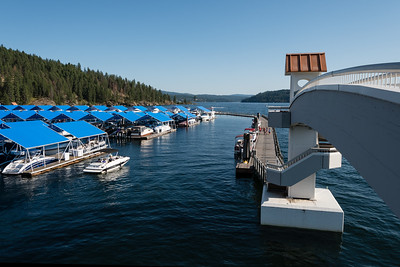 Looking south from the Coeur d'Alene Resort marina boat bridge.