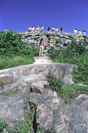 Champlain Lookout in Gatineau Park. This is one of my favorite spots in Gatineau Park. You look west over the Ottawa River valley. A plaque at the lookout calmly relays the simple fact that a mere 20,000 years ago on this very spot the ice was well over a kilometer thick. Canadian shield granite, seen in the foreground here, was largely exposed over a wide region by a combination of continental ice sheet erosion and uplift. Global warming: it's not all bad.