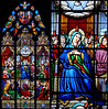 Notre Dame Basilica stained glass diptych. The stained glass in the Notre Dame Basilica of the Sacred Heart is the finest I have seen anywhere.  Unlike many of the great churches in Europe the glass in this church is fairly new.  It dates from the late 19th and early 20th centuries.  Hence the colors are intense and fully saturated.