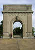 My son standing beside the memorial arch on the grounds of Royal Military College