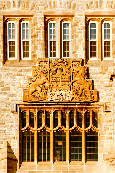 Late afternoon sunlight on a decorated Royal Military College window in Kingston Ontario.