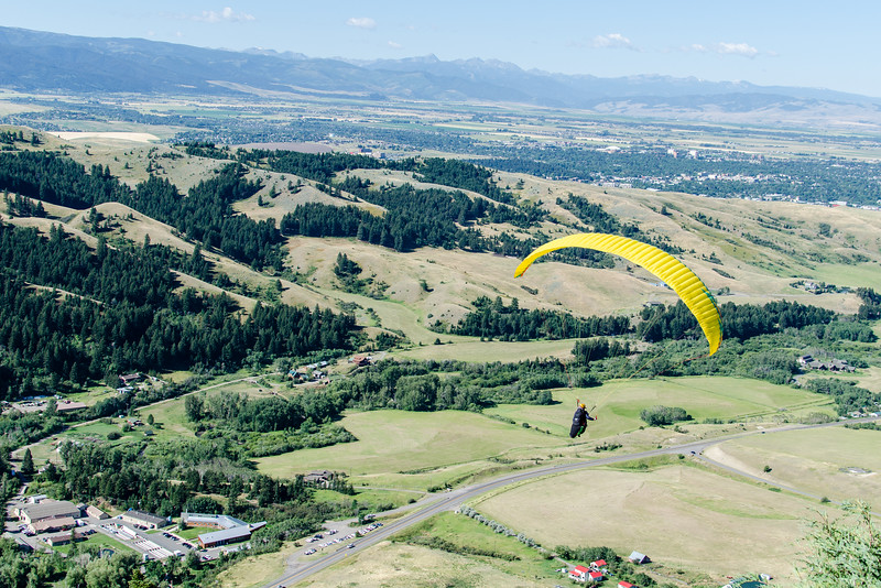 """We hiked up the """"M"""" trail this morning and we were lucky enough to watch a hang glider launch himself above the """"M"""" and fly down the mountain."""