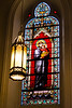 Stained glass in the Loretto Chapel in Santa Fe. The glass dates to the 1870s and was imported from France.
