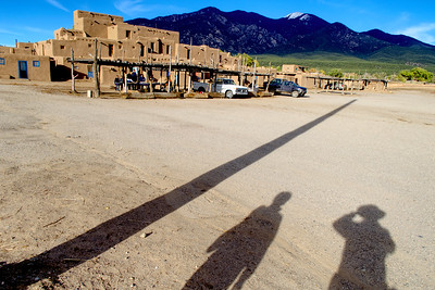I've always been a sucker for shadows. Mali and I are casting late afternoon shadows on the grounds of the Taos Pueblo.