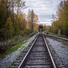 Crossing the railroad on walk into town, Talkeetna, Alaska
