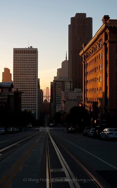 Cable car tracks run along San Francisco's hilly streets.
