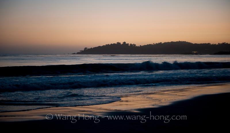 Sun has set over the hill. On Carmel Beach, California.