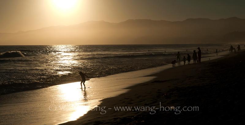 On Santa Monica Beach, California.