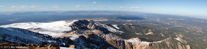 Four image panorama of the view from the top of Pikes Peak