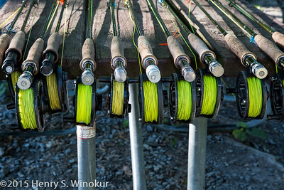 Fly rods stacked for a class