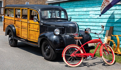 1947 Woodie and a red bike
