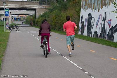 People out on the Dequindre Cut