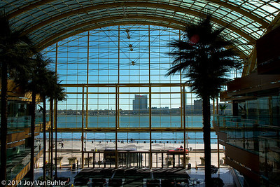 Inside the Renaissance Center looking out towards the Detroit River