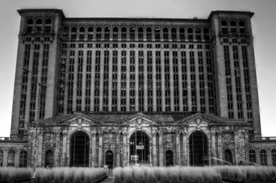 Black and White HDR of Michigan Central Depot in Detroit