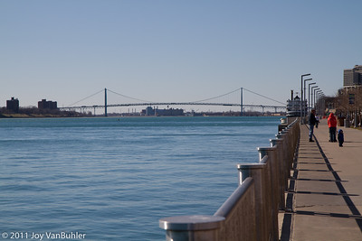 Detroit River looking towards the Ambassador Bridge