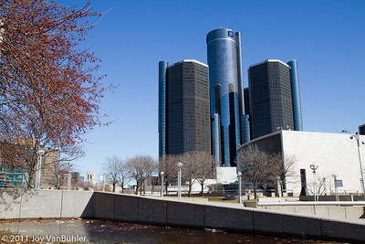 Renaissance Center viewed from Hart Plaza