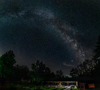 Picnic tables under the Milky Way