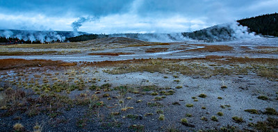 "This is the geyser field around where Old Faithful is, when it erupts.  Clearly it is in the ""reload"" stage at this moment!  ©2019 Henry S. Winokur"