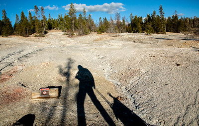 Here I am walking along the board walk in the Norris Geyser Basin.     ©2019 Henry S. Winokur