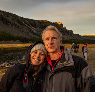 Near sunrise at Madison Junction. Randi Childs and Adam Jones (Canon Explorer of Light) and pro who accompanied us on our trip to Yellowstone.  ©2019 Henry S. Winokur