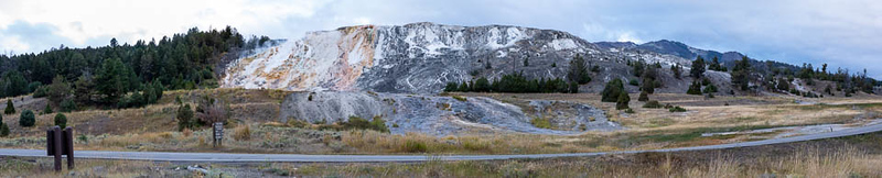 A pano of Mammoth Hot Springs.  I would guess the feature, as seen from the other side is probably 1/4 mile wide (from the left to the right).  ©2019 Henry S. Winokur