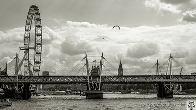 Hungerford Bridge and Golden Jubilee Bridges. Thames
