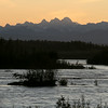Nearing sunset on the Susitna River - Talkeetna. View from the grounds of the Susitna River Lodge.