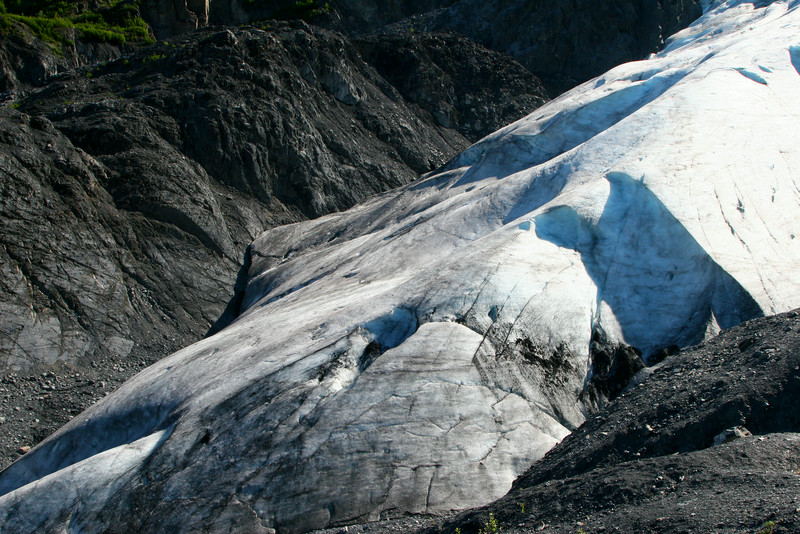 Exit Glacier, the only land accessible part of Kenai Fjords National Park. The glacier has receded a lot over the years.