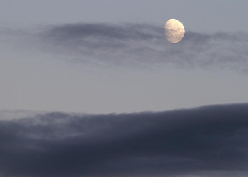 Moon and clouds at sunset - Seward.