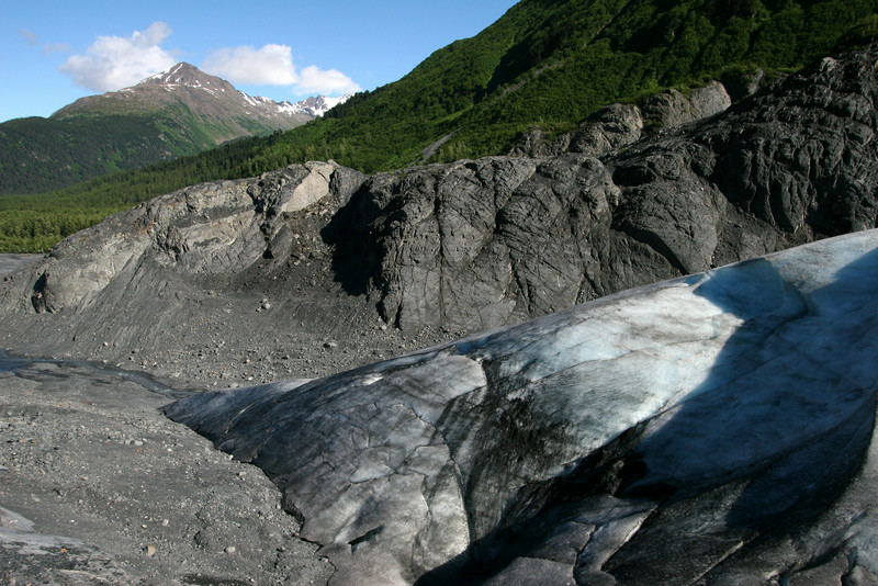 A view of the bottom edge of Exit Glacier, showing part of the landscape carved out by the glacier, which used to extend over 7 miles farther all the way to Resurrection Bay.