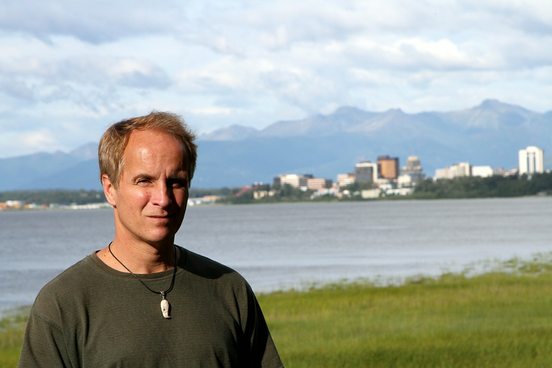 The photographer in Anchorage, wearing a necklace bought at the Alaska Native Cultural Center from a visiting seller.