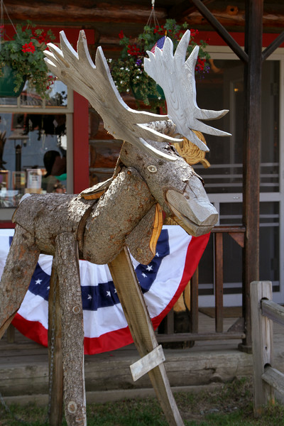 A moose sculpture sits before a store in the tiny town of Talkeetna - taken on July 4.