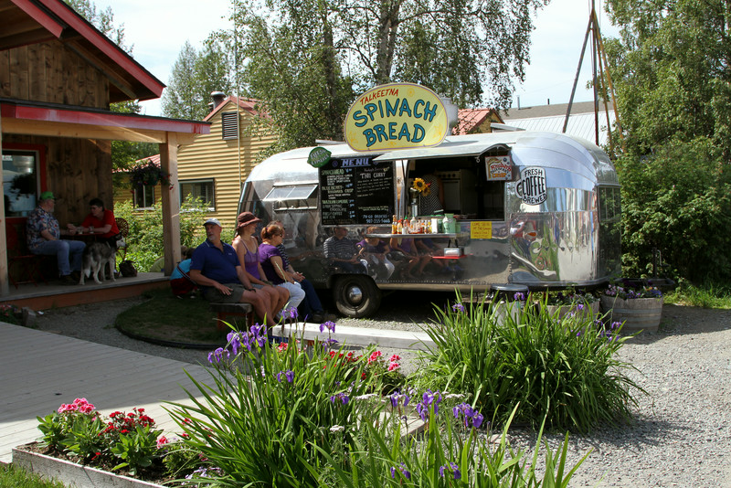 Spinach bread food truck - Talkeetna.