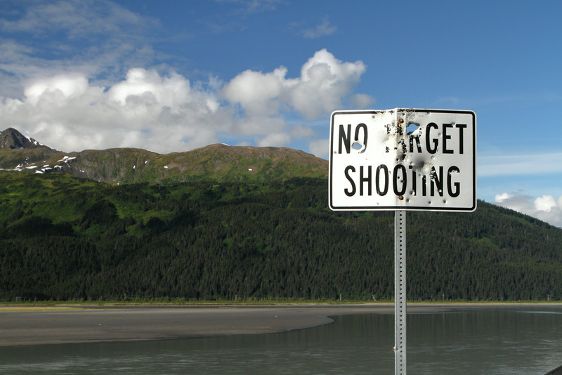 A rather ineffective sign on the Seward Highway.