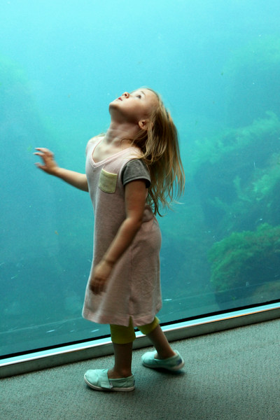 A little girl twirling before a tank in the Sea Life Research Center - Seward